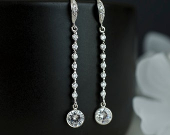 Cubic Zirconia Bridal Earrings, Long Clear Cubic Zirconia Earrings, Sterling Silver Bridal Earrings