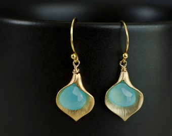 Bridesmaids Earrings - Gold Plated Cala Lily  and Aqua Blue Chalcedony Earrings