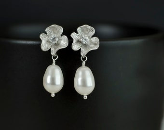 Bridal Earrings, Silver CZ Flower Earrings with White/Ivory 11 mm Swarovski Pear Shape Pearl .925 Sterling Silver Earring Post