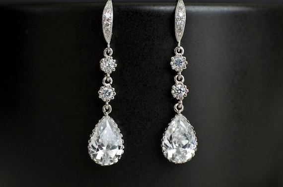 Bridal Earrings Cubic Zirconia Earwires, Cubic Zirconia Connectors and Teardrop Bridal Earrings, Cubic Zirconia Silver Wedding Jewelry