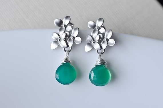 Emerald Green Quartz Earrings, Silver Cherry Blossom Earrings .925 Sterling Silver Earring Post