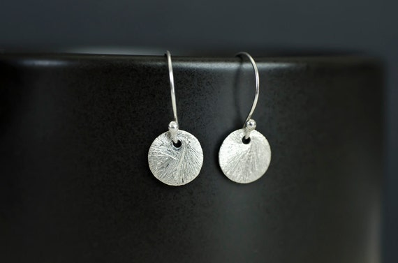 Silver  Brushed Coin Earrings. Sterling Silver Brushed Round Tiny Disc , Geometric, Simple, Minimalist Jewelry