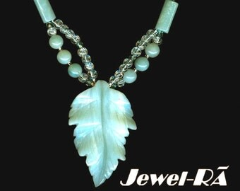 Amazonite Carved Leaf Necklace