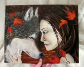 Autumn Grove - ORIGINAL painting - 11 x 14 - Wolf Maiden Fantasy forest woods fall red riding hood