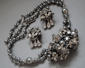 RESERVED for Cathy-Vintage Robert Necklace Earrings Set signed clear Rhinestones Gray Pearls Miriam Haskell style and rhinestone rhondelles