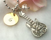 Personalized Rhinestone Guitar Necklace, Initial Necklace, Crystal Necklace, Music Necklace, Hand Stamped