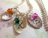 Hammered Initial Necklace, Swarovski Crystal Necklace, Birthstone Necklace, Mother's Necklace, Personalized Name Necklace