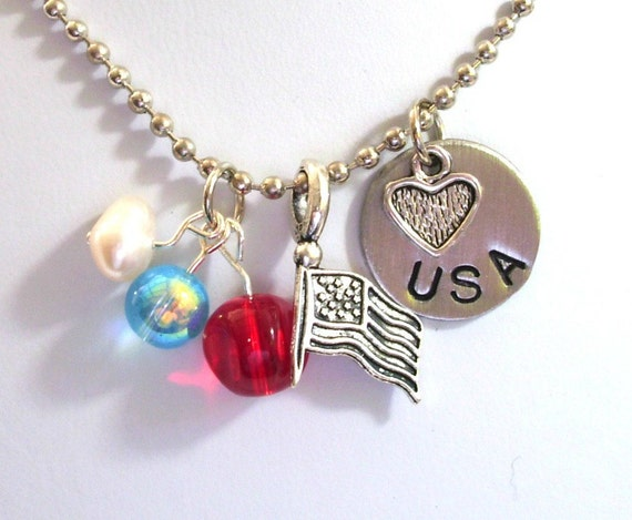 USA Necklace, US Flag Necklace, Hand Stamped Charm Necklace, Heart Necklace, Patriotic Necklace
