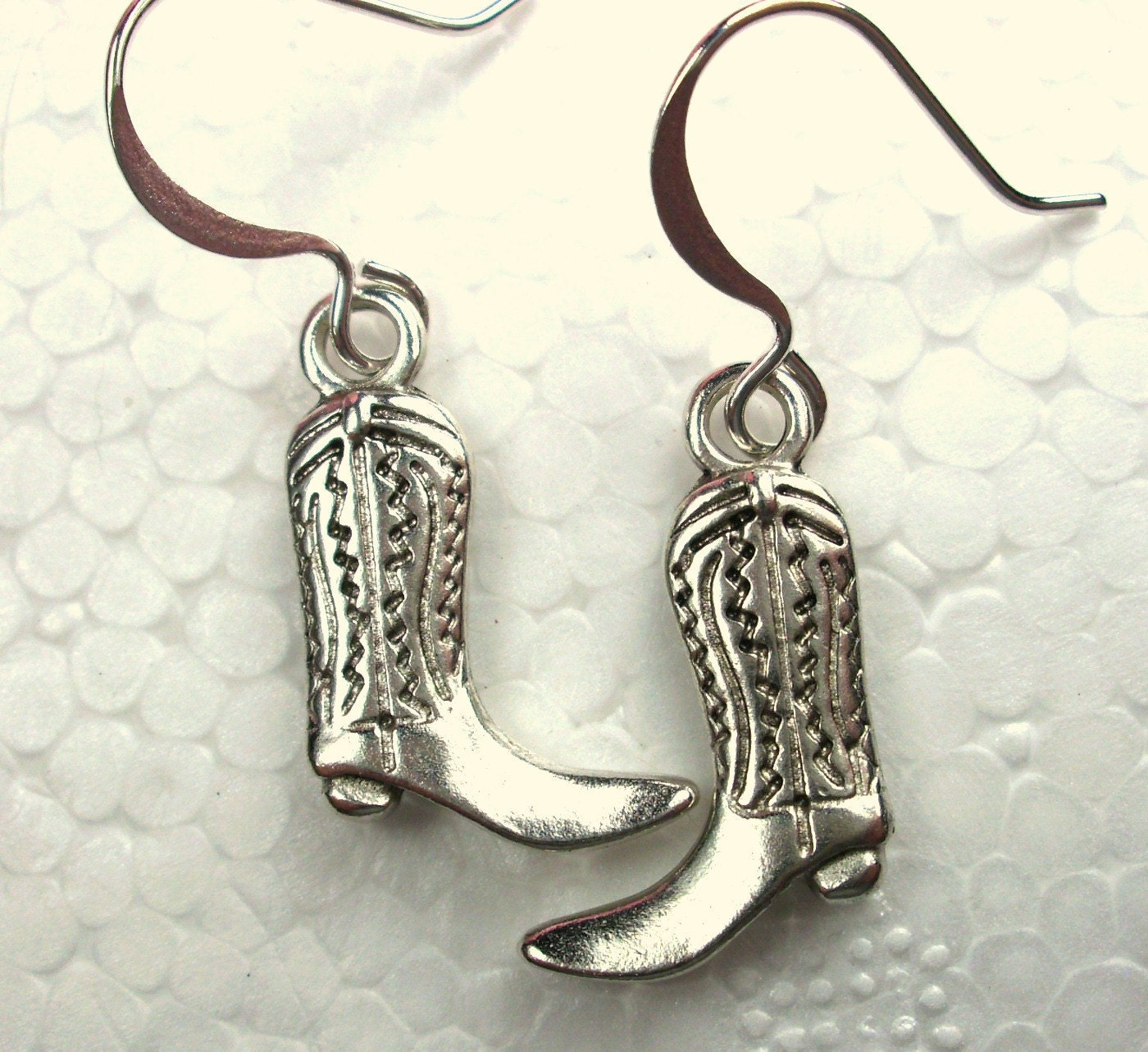 silver cowboy boot earrings charm jewelry country by