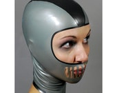 Openface Latex Hood in Silver - completely custom, made-to-measure