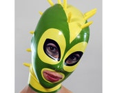 Spider-Bug-Studded Latex Hood in Yellow and Green - completely custom, made-to-measure