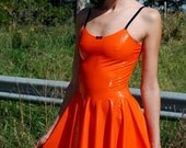 Latex minidress with loose skirt - made to your measurements, completely custom