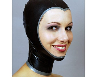 Openface Latex Hood in Metallic Black - completely custom, made-to-measure