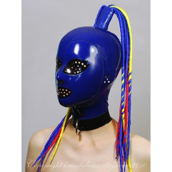 Blue Latex Hood w Synthetic Dreads D-Ring and Perforated Openings - completely custom, made-to-measure
