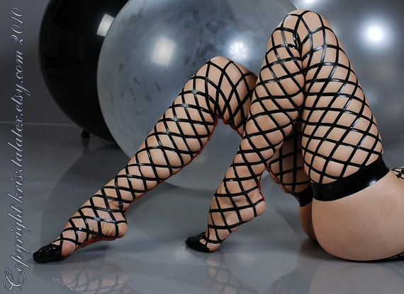 Real Latex Fishnet Stockings (Hold-Ups or Stay-Ups or Thigh Highs) - SALE