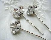 Bridal hair pins, bridesmaid, Rhinestone hair pins, Head Piece, Set of 3, vintage style,  wedding hair ACCESSORIES,