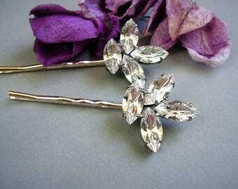 Bridal wedding hair pins, Swarovski Rhinestone hair pin, Bridesmaid Jewelry  Bobby pins, set of 2, vintage style,hair Accessories,