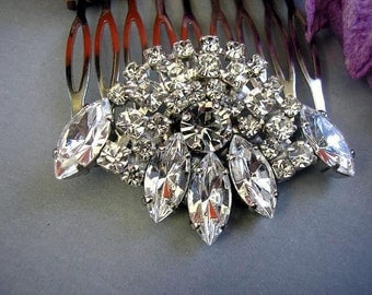 BRIDAL hair comb vintage style wedding HAIR ACCESSORIES sparkle Rhinestones,