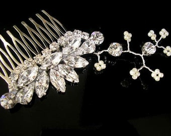 BRIDAL hair comb,  hair vine, Rhinestones, vintage style, wedding HAIR ACCESSORIES,