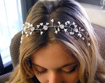 Bridal hair vine, Wedding hair accessories, sparkle Rhinestones, head piece, Hair Vine Tiaras, hair piece fascinate