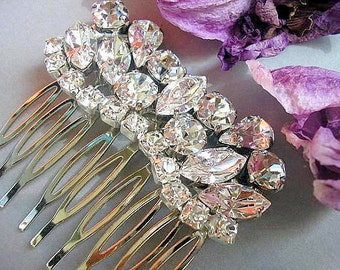 Bridal hair comb ,bridal hair jewelry ,vintage style, wedding hair accessories, bridal  jewelry, wedding hair comb, sparkle Rhinestones ,