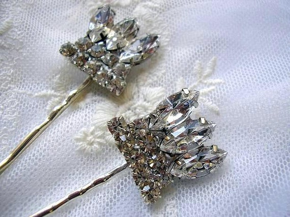 BRIDAL bridesmaid hair pins,  vintage style , wedding hair  ACCESSORIES, Rhinestone Set of 2