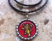 House Lannister Crest, Game of Thrones inspired, Bottle Cap Necklace or Key Ring, Hand drawn