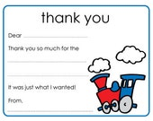 Train Thank You Cards - Fill in the Blank - Kids