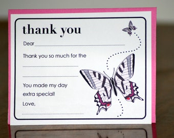 Butterfly Thank You Cards - Fill in the Blank - set of 12