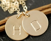 Hand Stamped Necklace, Gold Initials, Bridesmaid Gifts, Personalized Gold Jewelry