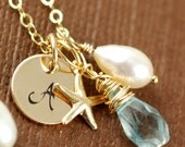 Personalized Bridemaid Gift, Gold Initial Necklace, Personalized Jewelry, Starfish, Pearl, Blue Topaz Birthstone