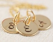 Triple Initial Jewelry - Hand Stamped Necklace - Initial Jewelry - Gold Initial Charm Necklace - 14kt Gold Filled Jewelry - Three Initials