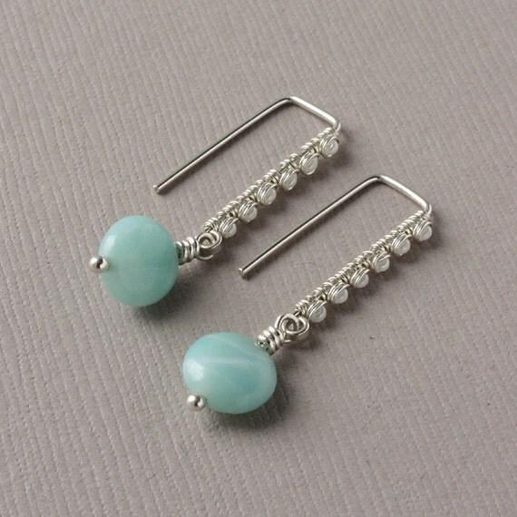 Amazonite Earrings, Sterling Silver Rectangle Hoops, Stone Dangle Earrings, Handcrafted Artisan Jewelry