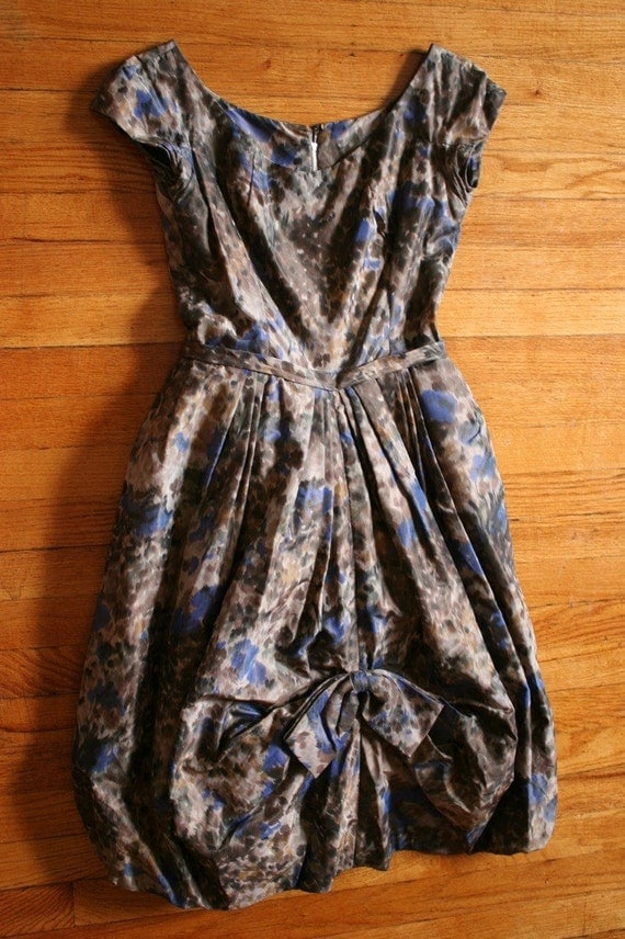 RESERVED FOR AQUAELL 50's BROWN AND BLUE WATERCOLOR PROM DRESS voluminous formal gown party dress S