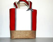 Red White and Blue Summer Fireworks Canvas Burlap Toter
