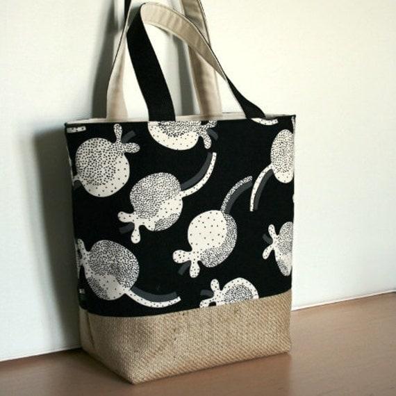 Sea Life Canvas Burlap Tote Bag Ebony Black