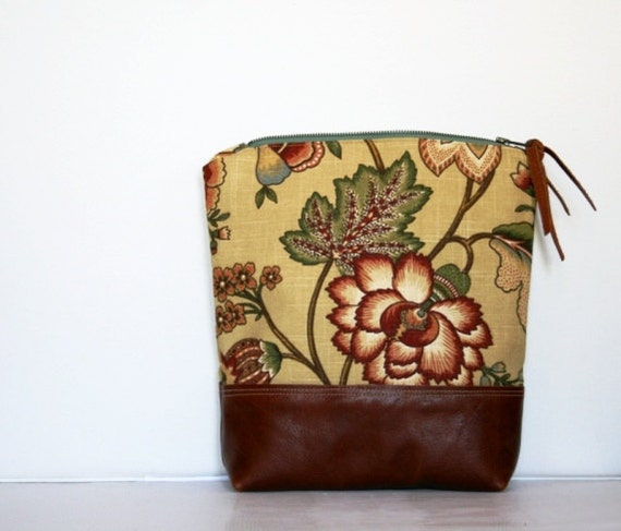 Rouge Red Leather Clutch Botanical Color Burst