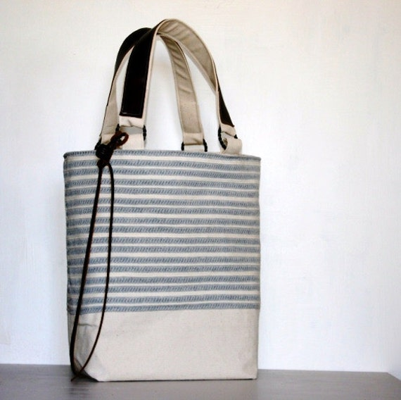 Canvas Tote Stripes Seawashed Blue Cream Leather Handbag