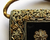 Embroidered Black Velvet Clutch Purse 1970s Made in India Peacock Design