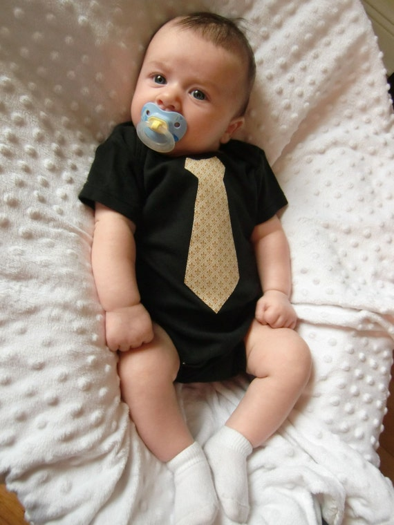 Who Dat Baby Black and Gold Fleur de Lis Sunday Best Necktie Onesie