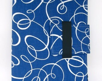 iPad Case - IPad, iPad 2 and iPad 3 folding cover or stand in Bright Blue Swirl