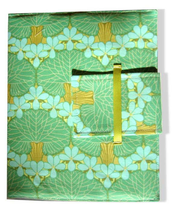 IPad and iPad 2 Cover - folding case or stand in Amy Butler Modern Nouveau in green and aqua