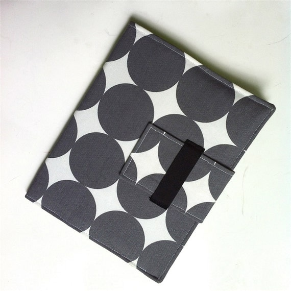 iPad Case - IPad, iPad 2 and iPad 3 folding cover or stand in modern gray dots