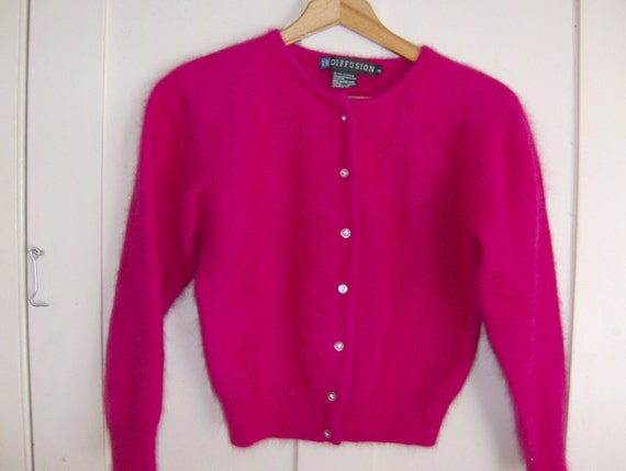 Hot Pink Cardigan Sweater