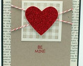 "Sparkly Plaid Valentine Card, Love Card 5.5""x4.25"""