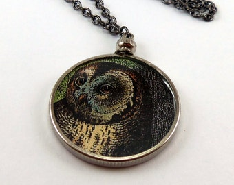 Double-Sided Owl and Raven Necklace