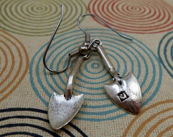 Silver Garden Shovel Earrings