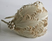Ivory Feather Flapper Art Deco Hairpiece