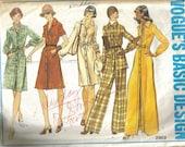 VINTAGE VOGUE Sewing Pattern 2969 Tunic dress Pants sz 16.5 B39 1974