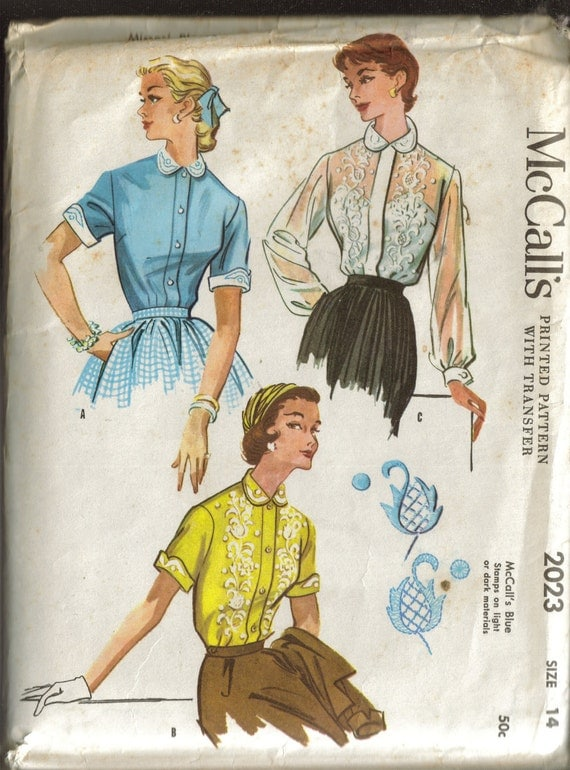 VINTAGE 1955 McCalls 2023 UNUSED  Sewing Pattern  Blouse withTransfer  Size 14 Bust 32